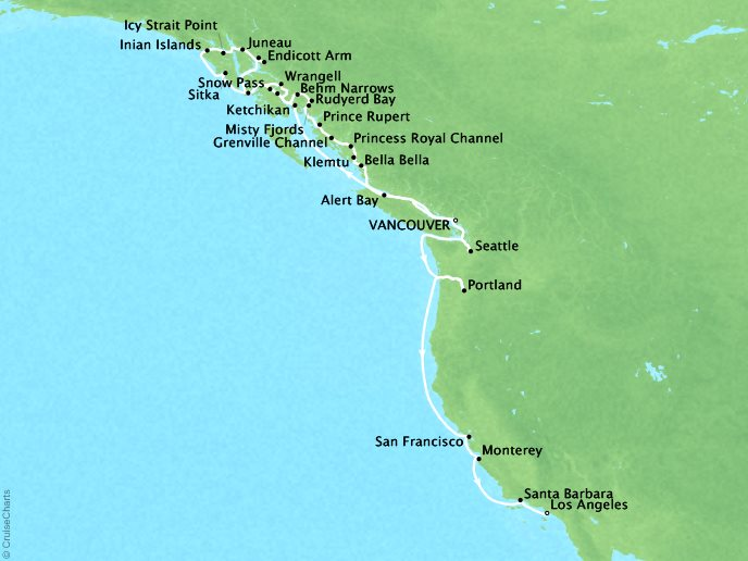 Cruises Seabourn Sojourn Map Detail Vancouver, Canada to Los Angeles, CA, United States September 21 October 14 2017 - 24 Days