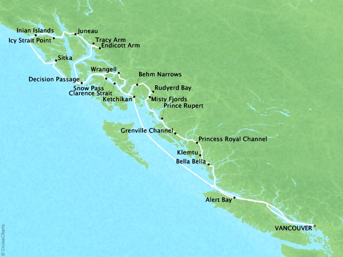 Cruises Seabourn Sojourn Map Detail Vancouver, B.C., CA to Vancouver, B.C., CA September 9-21 2017 - 12 Days - Voyage 5749