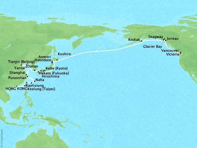 Cruises Seabourn Sojourn Map Detail Hong Kong, China to Vancouver, Canada April 24 June 4 2018 - 42 Days