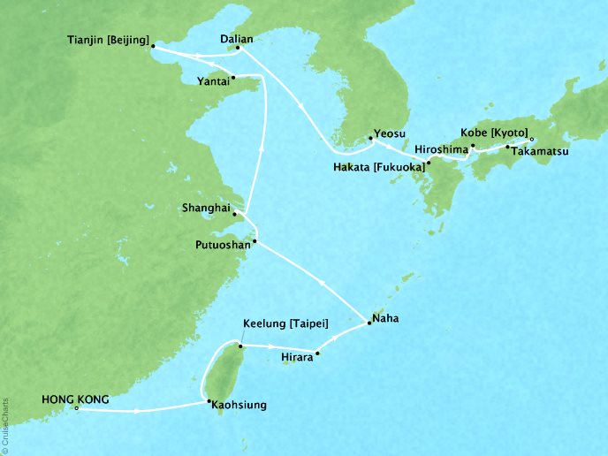 DEALS - SEABOURN Sojourn Cruises Map Detail Hong Kong, China to Kobe, Japan April 24 May 15 2018 - 22 Days