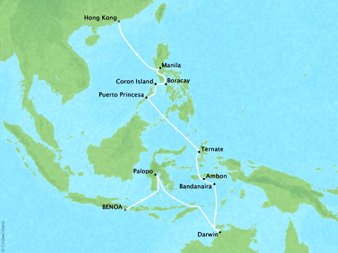 DEALS - SEABOURN Sojourn Cruises Map Detail Benoa (Bali), Indonesia to Hong Kong, China April 4-24 2018 - 20 Days