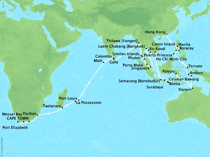 DEALS - SEABOURN Cruises Seabourn Sojourn Map Detail Cape Town, South Africa to Hong Kong, China February 11 April 24 2018 - 72 Days