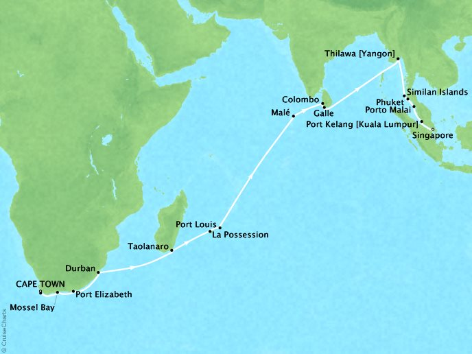 DEALS - SEABOURN Sojourn Cruises Map Detail Cape Town, South Africa to Singapore, Singapore February 11 March 19 2018 - 37 Days