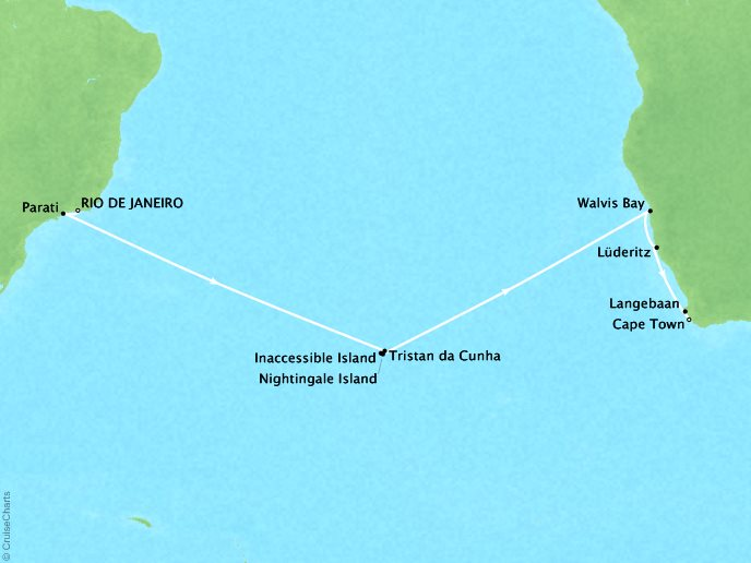 Cruises Seabourn Sojourn Map Detail Rio De Janeiro, Brazil to Cape Town, South Africa January 23 February 11 2018 - 20 Days
