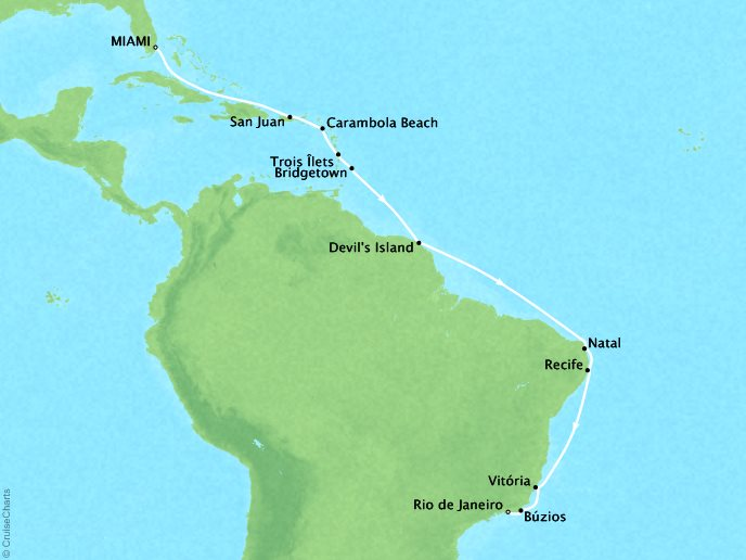 DEALS - SEABOURN Sojourn Cruises Map Detail Miami, FL, United States to Rio De Janeiro, Brazil January 4-23 2018 - 19 Days