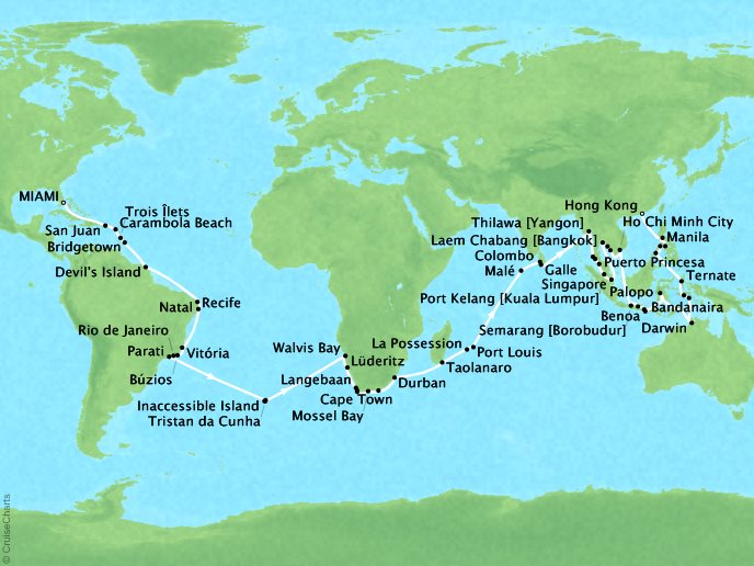 Cruises Seabourn Sojourn Map Detai lMiami, FL, United States to Hong Kong, China January 4 April 24 2018 - 111 Days