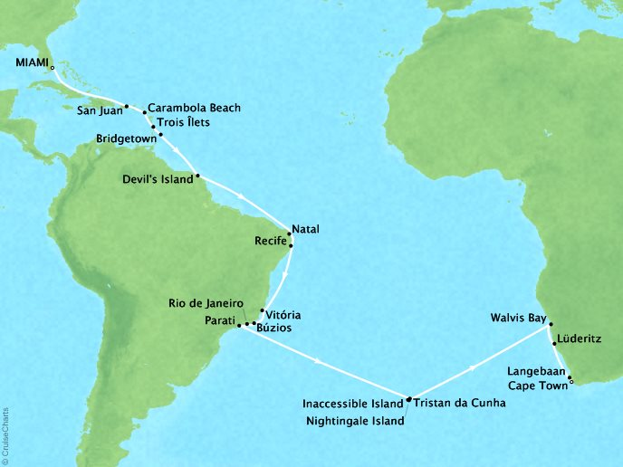 SEABOURN LUXURY CRUISES Cruises Seabourn Sojourn Map Detail Miami, FL, United States to Cape Town, South Africa January 4 February 11 2018 - 38 Days