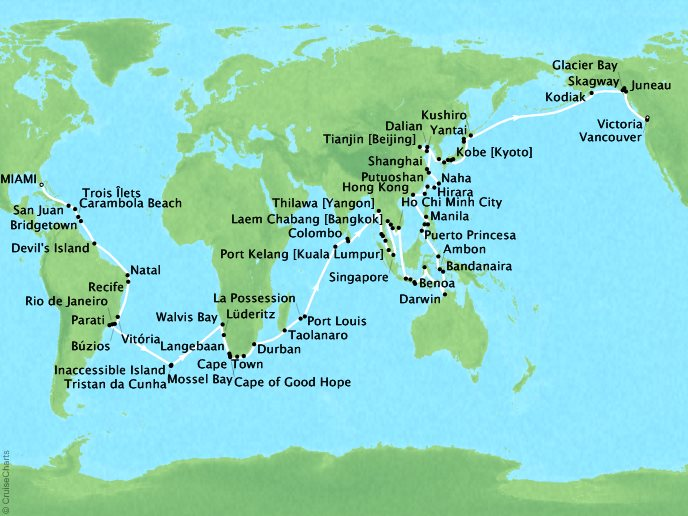 Cruises Seabourn Sojourn Map Detail Miami, FL, United States to Vancouver, Canada January 4 June 4 2018 - 152 Days