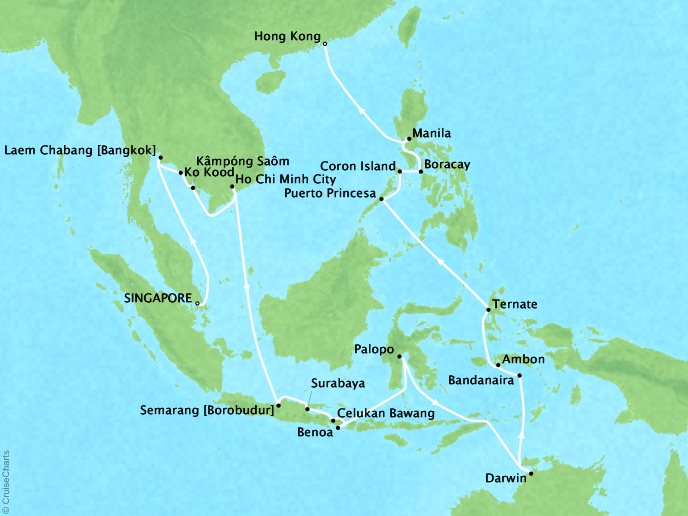 Cruises Seabourn Sojourn Map Detail Singapore, Singapore to Hong Kong, China March 19 April 24 2018 - 37 Days
