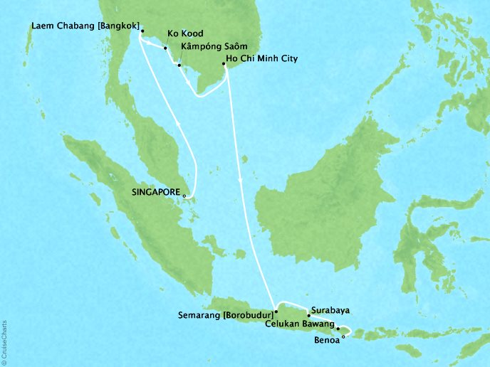 DEALS - SEABOURN Cruises Sojourn Map Detail Singapore, Singapore to Benoa (Bali), Indonesia March 19 April 4 2018 - 17 Days