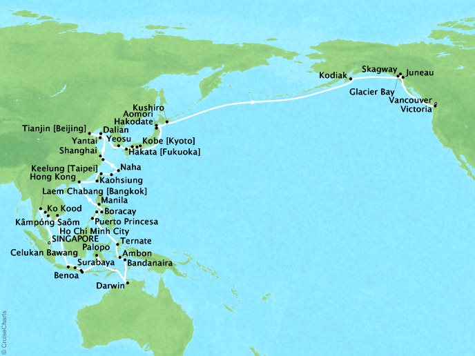 Cruises Seabourn Sojourn Map Detail Singapore, Singapore to Vancouver, Canada March 19 June 4 2018 - 78 Days