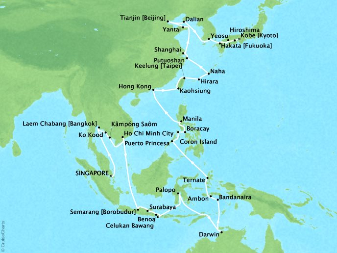 DEALS - SEABOURN Cruises Seabourn Sojourn Map Detail Singapore, Singapore to Kobe, Japan March 19 May 15 2018 - 58 Days