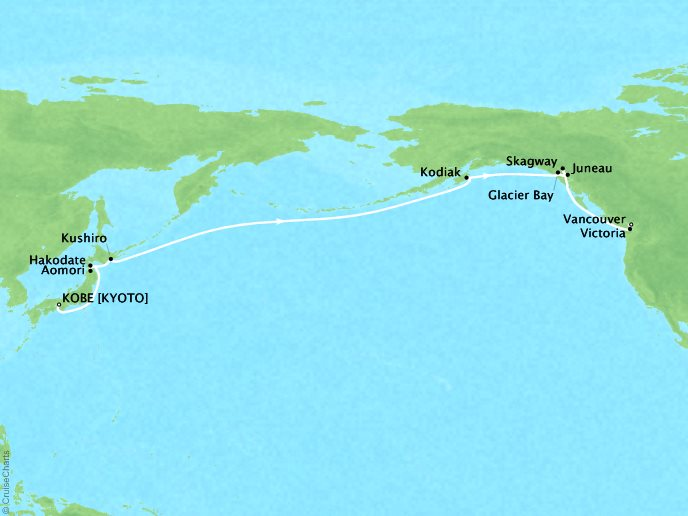 DEALS - SEABOURN Cruises Sojourn Map Detail Kobe, Japan to Vancouver, Canada May 15 June 4 2018 - 21 Days