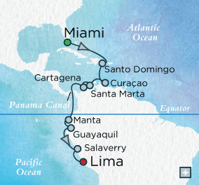 ALL SUITE CRUISE SHIPS - Crystal Cruises Serenity 2018 Panama Panorama Map