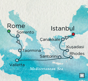 ALL SUITE CRUISE SHIPS - Crystal Cruises Serenity 2022 Mediterranean Mosaic Map