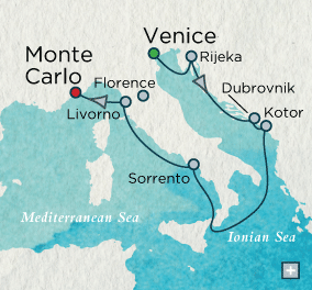 LUXURY CRUISES - Balconies and Suites Crystal Cruises Serenity 2018 Classico Italiano Map