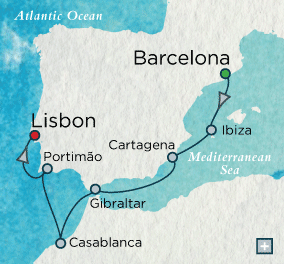 ALL SUITE CRUISE SHIPS - Crystal Cruises Serenity 2022 Iberian Idyll Map
