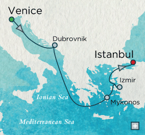 LUXURY CRUISES - Penthouse, Veranda, Balconies, Windows and Suites Crystal Serenity Grand Canal to Grand Bazaar Map Venice, Italy to Istanbul, Turkey - 7 Days