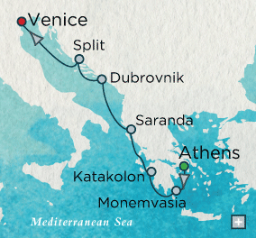 ALL SUITE CRUISE SHIPS - Crystal Cruises Serenity 2015 Into the Adriatic Map