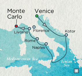 LUXURY WORLD CRUISES - Penthouse, Veranda, Balconies, Windows and Suites Crystal Cruises Serenity 2021 Irresistible Italy Map