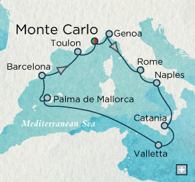 ALL SUITE CRUISE SHIPS - Crystal Cruises Serenity 2018 Magical Mediterranean Map
