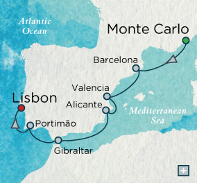 ALL SUITE CRUISE SHIPS - Crystal Cruises Serenity 2015 Iberian Images Map