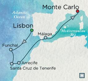 ALL SUITE CRUISE SHIPS - Crystal Cruises Serenity 2015 Canary Island Classic Map