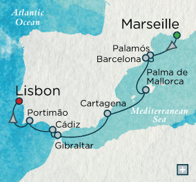 LUXURY CRUISES - Penthouse, Veranda, Balconies, Windows and Suites Crystal Cruises Serenity 2021 Iberian Jewels Map
