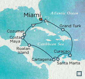 ALL SUITE CRUISE SHIPS - Crystal Cruises Serenity 2022 Haute Caribbean Holidays Map