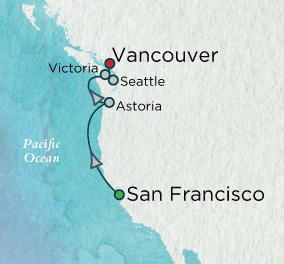 7 Seas Luxury Cruises - Coastal Vistas Map Crystal Cruises Serenity World Cruise