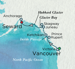 7 Seas Luxury Cruise - Majestic Alaska Map Crystal Luxury Cruise Serenity World Cruise