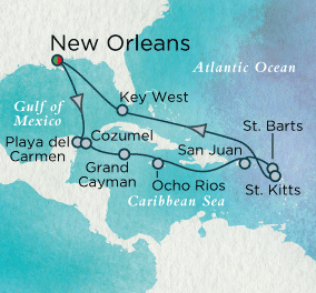 7 Seas Luxury Cruise - Flavors of the Caribbean Map Crystal Luxury Cruise Serenity World Cruise