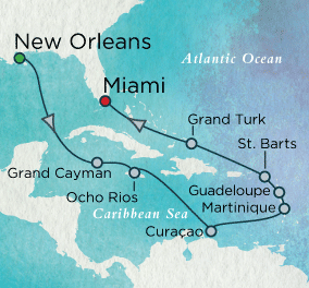 LUXURY CRUISES - Balconies and Suites Bourbon Street to South Beach Map Crystal Cruises Serenity 2019 World Cruise