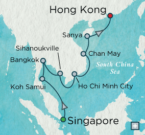 ALL SUITE CRUISE SHIPS - crystal cruises symphony 2015 Indochine Discovery Map