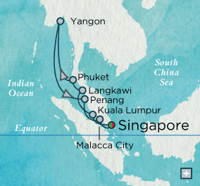 ALL SUITE CRUISE SHIPS - crystal cruises symphony 2022 Mystical Malaysia & Myanmar Map