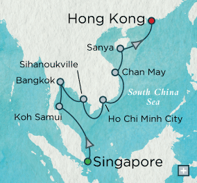 Single-Solo Balconies-Suites Crystal CRUISE symphony Ship Oriental Embrace Map