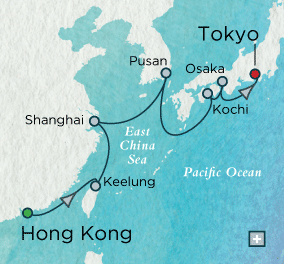 LUXURY CRUISES - Balconies and Suites Crystal Cruises symphony 2018 Across the East China Sea Map