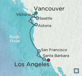 LUXURY CRUISES - Penthouse, Veranda, Balconies, Windows and Suites Crystal Cruises symphony 2018 Pacific Coast Collection Map