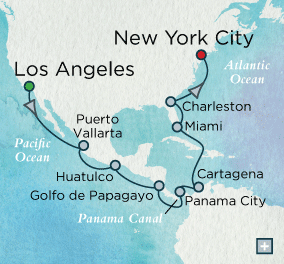 ALL SUITE CRUISE SHIPS - crystal cruises symphony 2015 Grand Panama Canal Transit Map