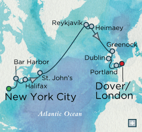 ALL SUITE CRUISE SHIPS - crystal cruises symphony 2018 Trans-Atlantic Treasures Map