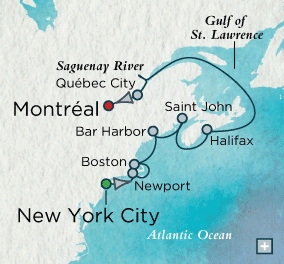 ALL SUITE CRUISE SHIPS - crystal cruises symphony 2015 Lobsters & Lighthouses Map