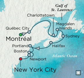 LUXURY CRUISES - Penthouse, Veranda, Balconies, Windows and Suites Crystal Cruises symphony 2021 Quaint Canadian Classics Map