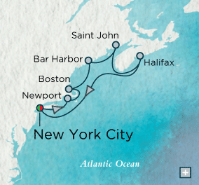 LUXURY CRUISES - Penthouse, Veranda, Balconies, Windows and Suites Crystal Cruises symphony 2018 New England Discovery Map