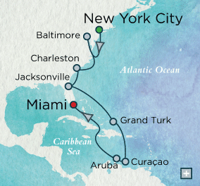 LUXURY CRUISES - Penthouse, Veranda, Balconies, Windows and Suites Crystal Cruises symphony 2018 Colonial Coast & Beyond Map