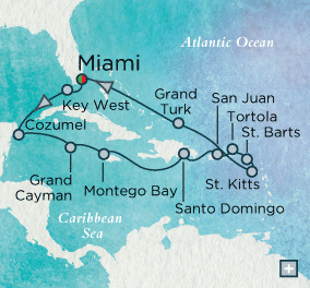 ALL SUITE CRUISE SHIPS - crystal cruises symphony 2015 Caribbean Cornucopia Map