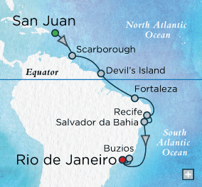 Single-Solo Balconies-Suites Crystal CRUISE symphony Ship Brazilian Holiday Map