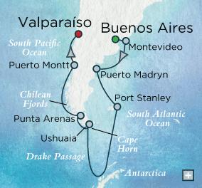 Crystal Luxury Cruises Symphony 2023 Amazing Antarctic Map