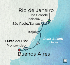 7 Seas Luxury Cruise - Crystal Cruises Symphony Spotlight on Brazil Map