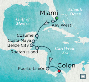 SINGLE Cruise - Balconies-Suites Crystal CRUISE Symphony 2019 Tropical Rhythms Map