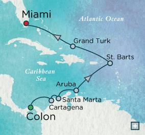 7 Seas Luxury Cruise - Crystal Luxury Cruise Symphony Caribbean Reflections Map